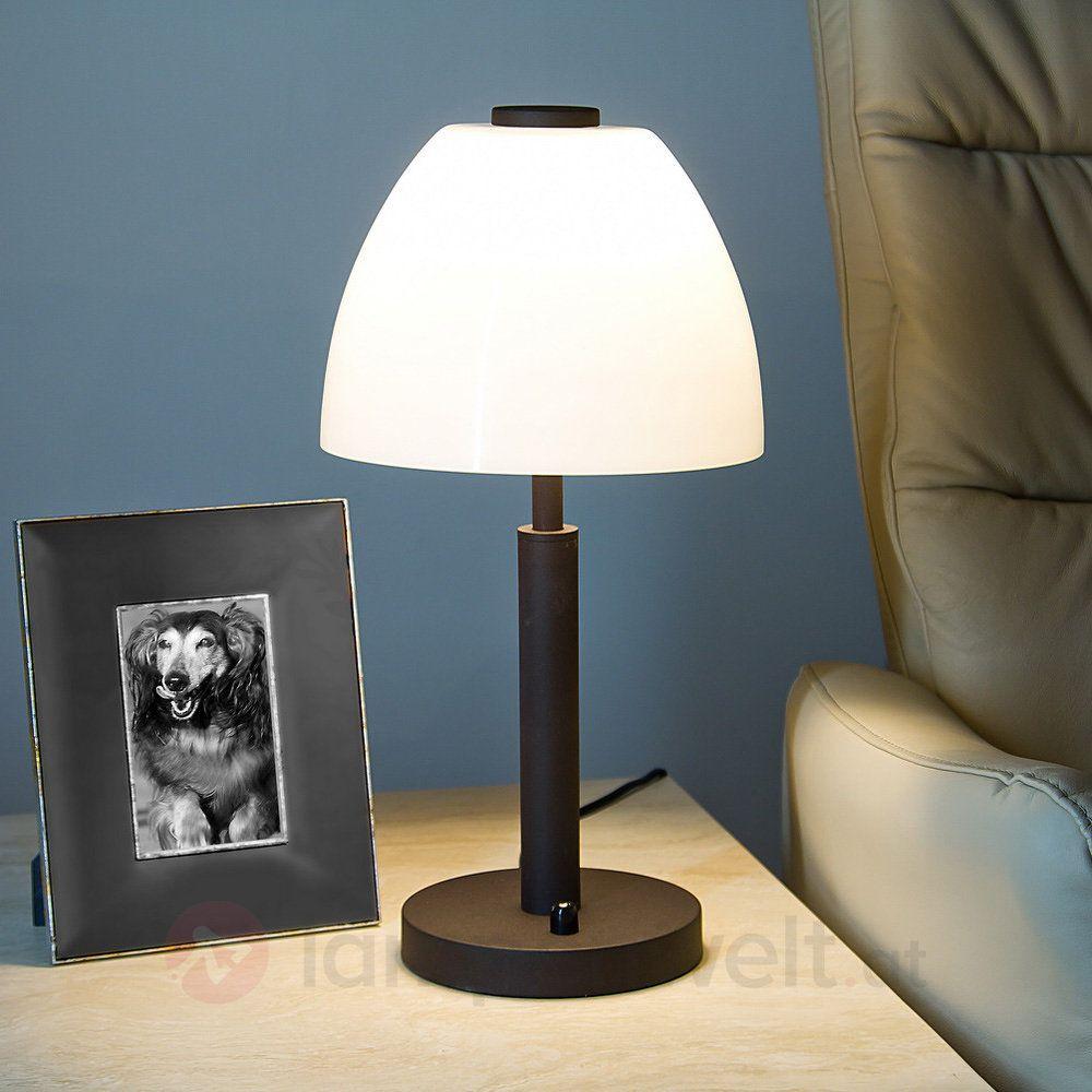 Schlicht modern lichtstark led tischleuchte mit rostbraunem fu und opalwei em lampenschirm - Lampenschirm schlafzimmer ...