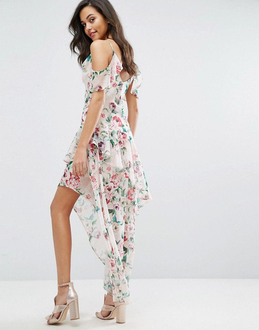 Miss selfridge printed ruffle maxi dress multi maxi dresses