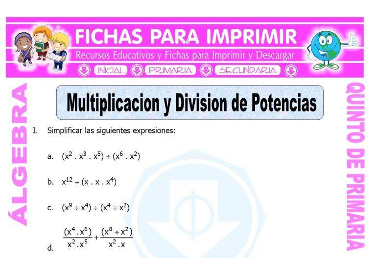 Modelo De La Ficha De Multiplicacion Y Division De Potencias Para Quinto De Primaria Polinomios Matemáticas De Quinto Grado Juegos Didacticos De Matematicas