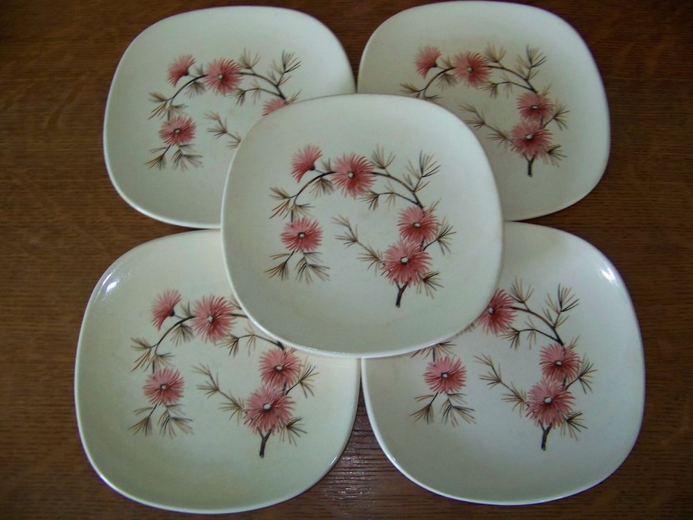 5 dessert plates square antique mid century KNOWLES Coral Pine pink flower retro #Knowles & 5 dessert plates square antique mid century KNOWLES Coral Pine pink ...