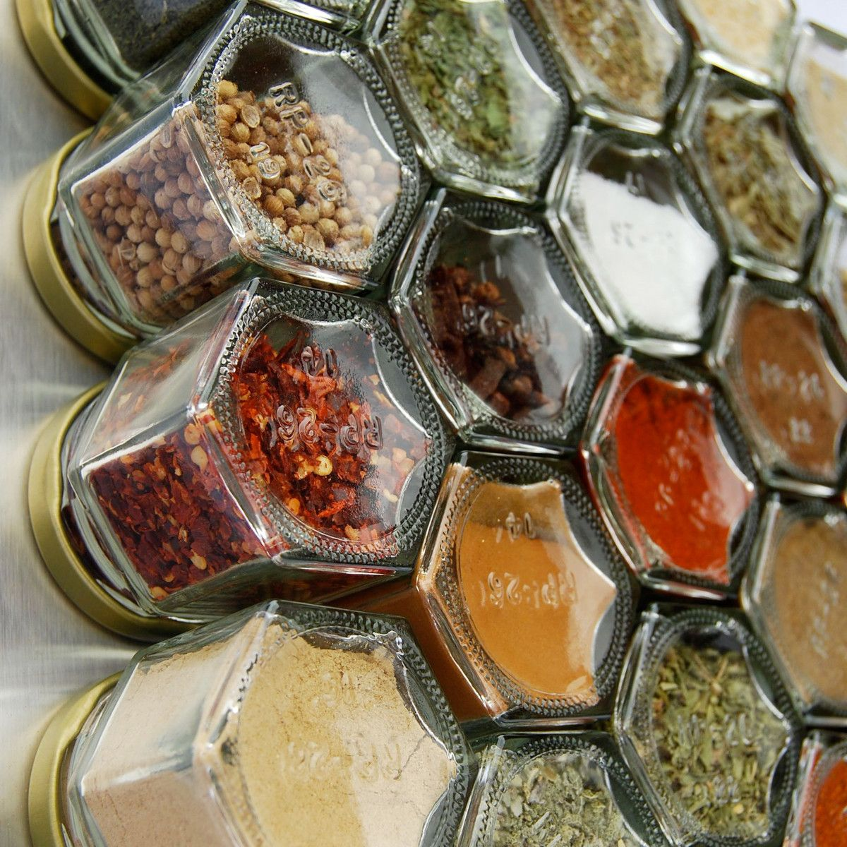 hexagonal spice containers that come loaded with