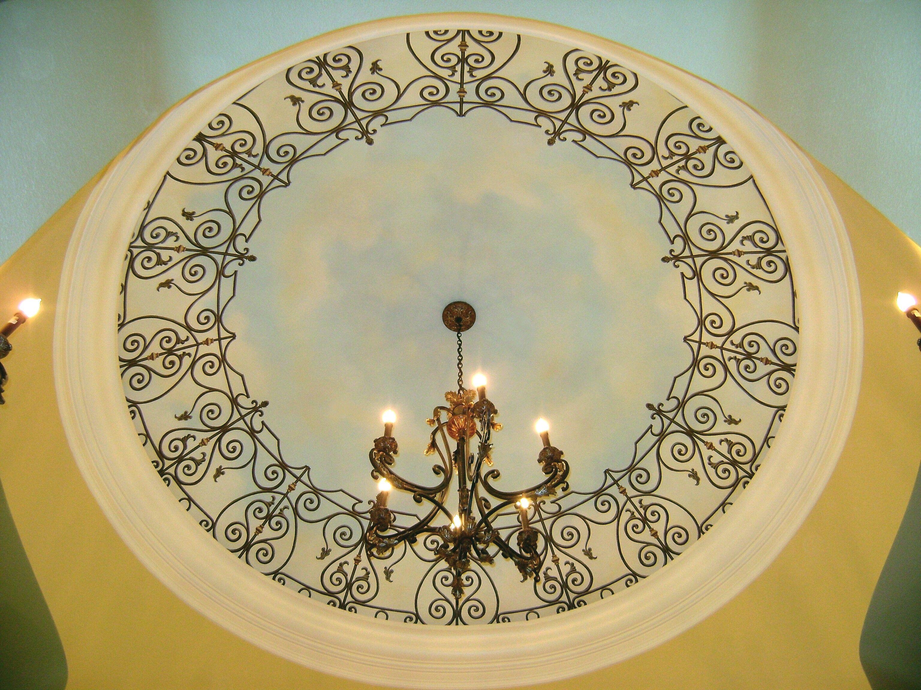 Shallow Dome Trompe L Oeil Wrought Iron Trellis