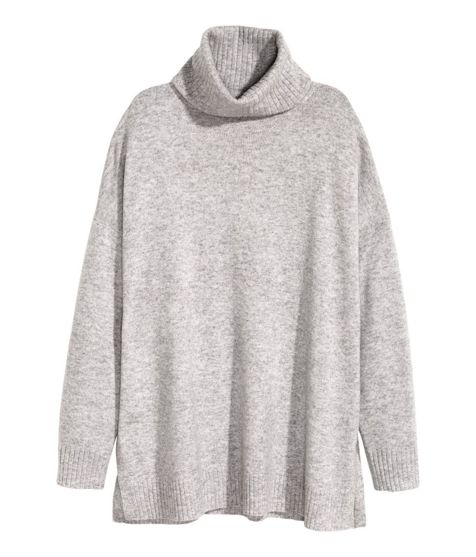 Cashmere Turtleneck Sweater | Light gray melange | Ladies | H&M US ...