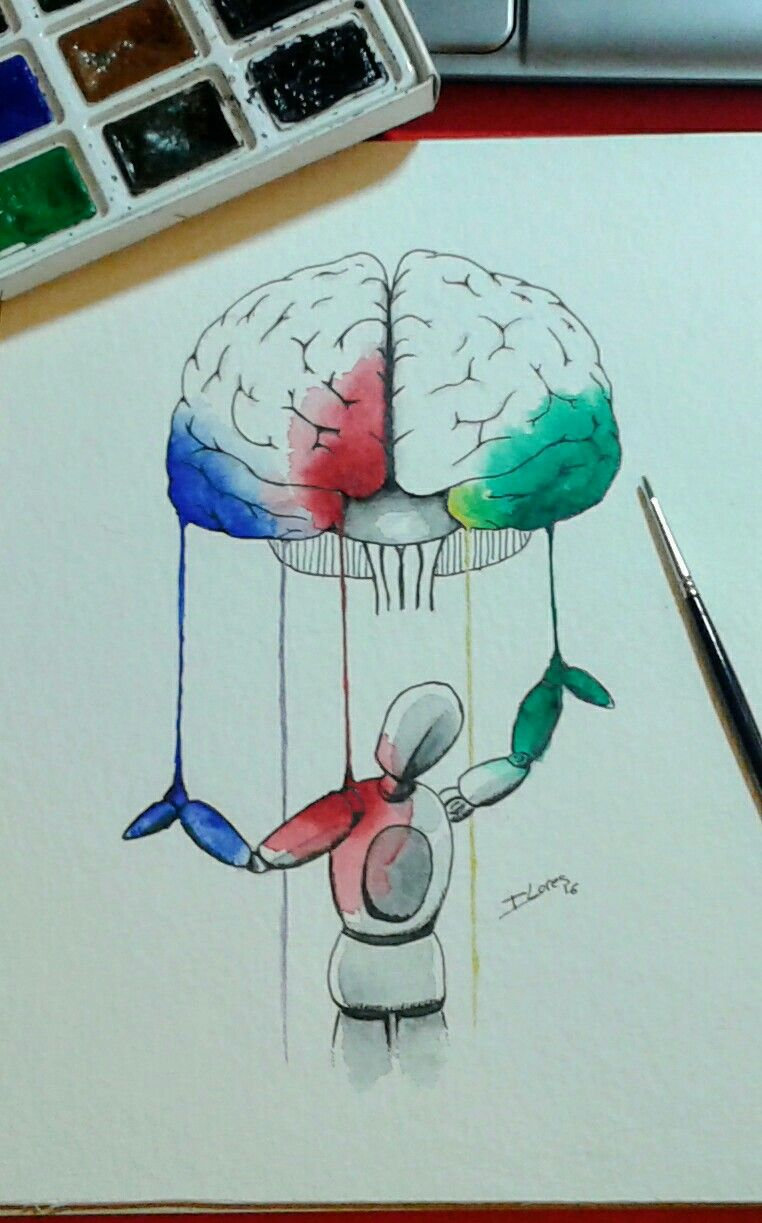 Watercolor book covers - Brain Puppet Watercolor Artwork For Science Book Cover
