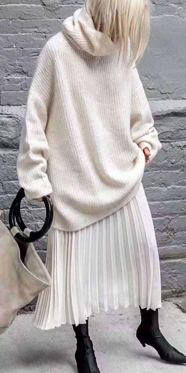 Pure Color High-Collar Long-Sleeved Sweater #purewhite