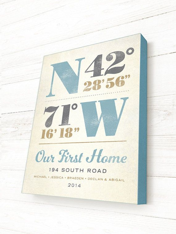 First home gift home coordinates canvas gps art custom