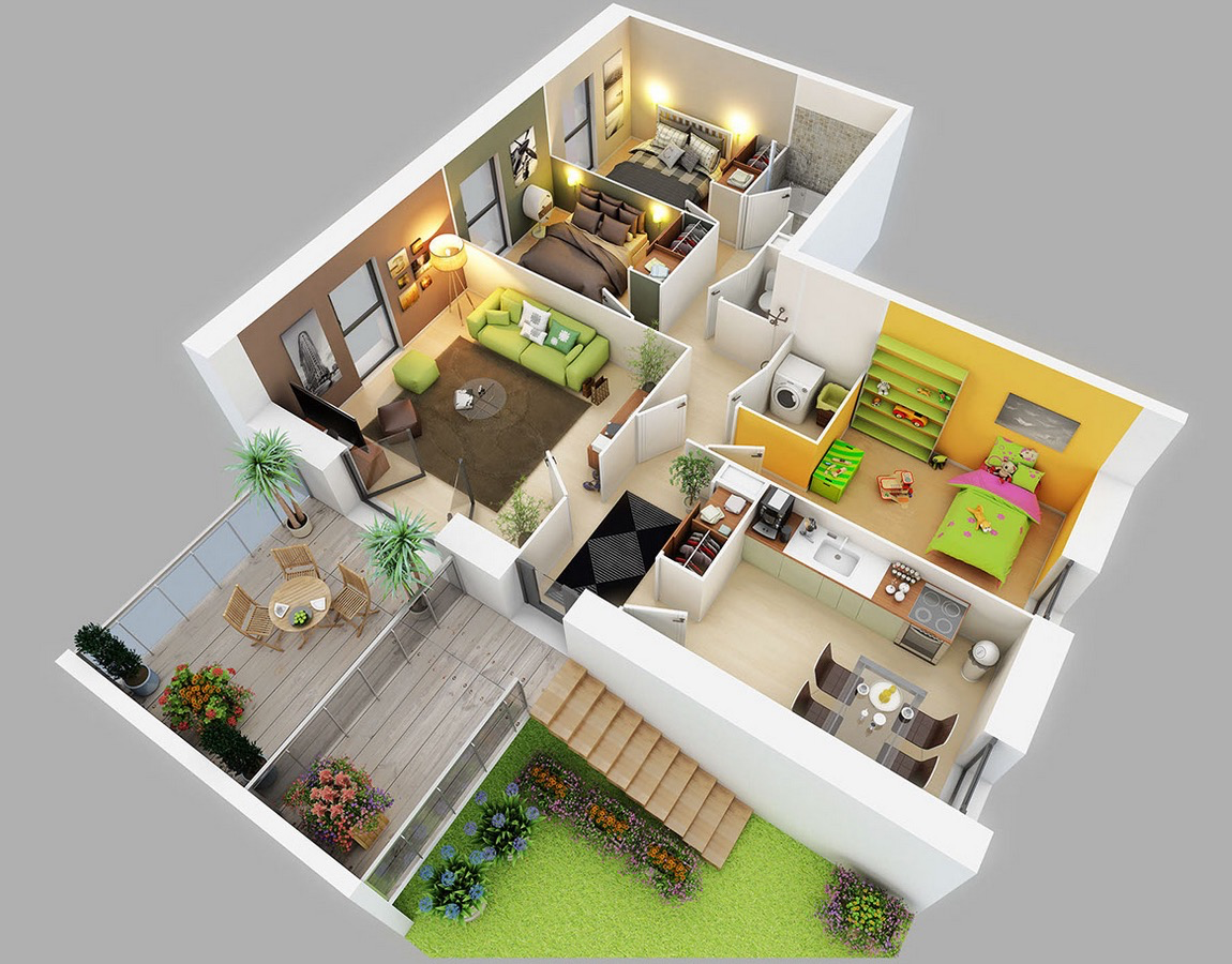 Three bedroom apartment home and design pinterest Home plan 3d