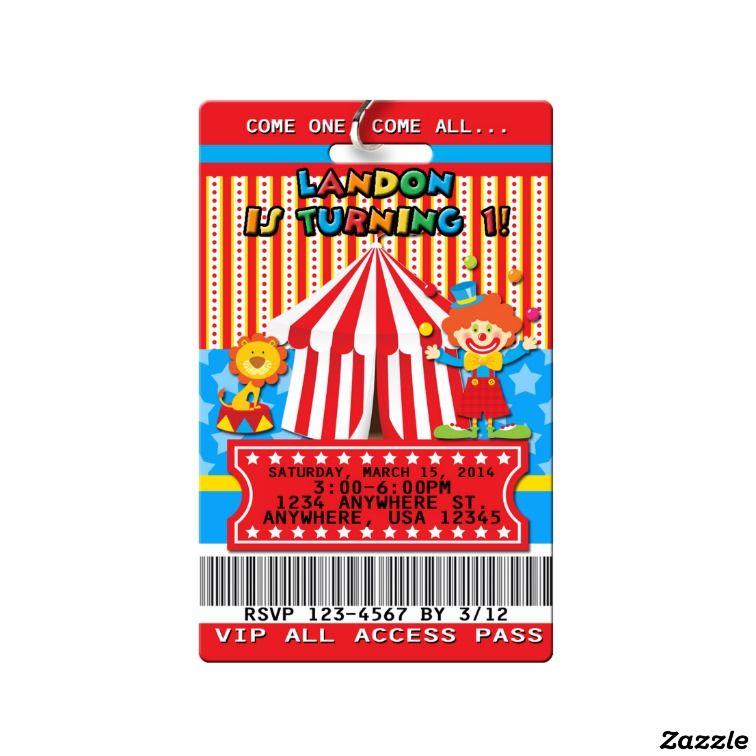 carnival birthday invitations vip pass pvc plastic milestone