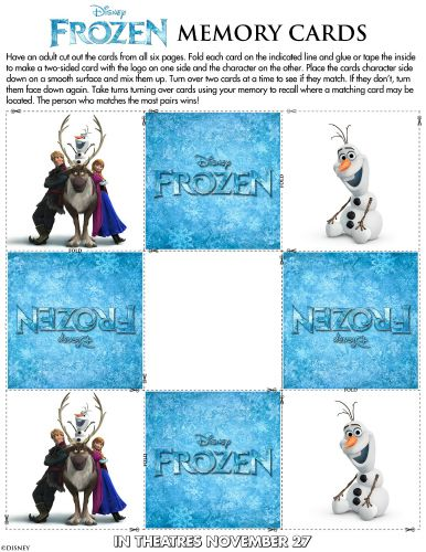 image about Printable Memory Cards known as Disney Frozen Printable Memory Card Activity Printable