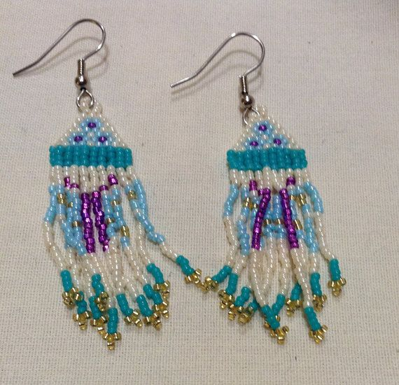 Vintage Handcrafted Native American Turquoise Seed Beads Long Dangle Pierced EARRINGS B1725- 1