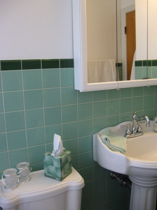 BEFORE AND AFTER S Green Tile When I Bought The House The - 1950s bathroom tile