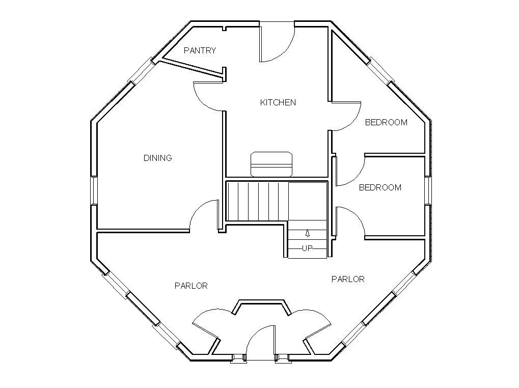 Lovely octagon home plans 3 octagon house floor plans for Octagonal building plans