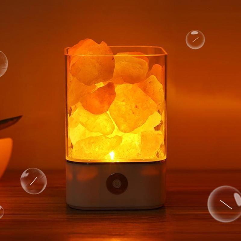 USB Himalayan Natural Crystal Salt Rock Led Light Air Purifier Create Lamp Room