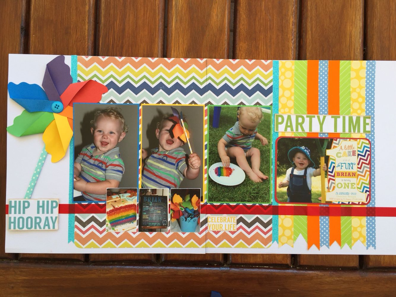 Scrapbook ideas rainbow - First Birthday Rainbow Party Double Page Scrapbook Layout