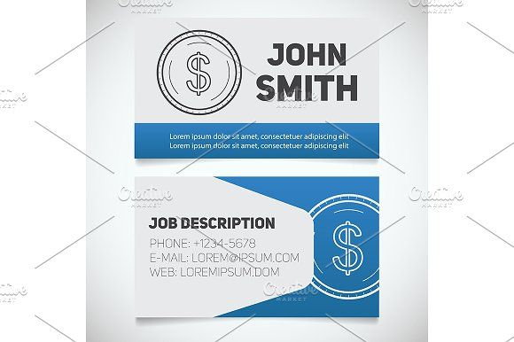 Business card print template vector pinterest print templates business card print template vector graphics business card print template with dollar coin logo easy edit accountant bank worker economist reheart Image collections