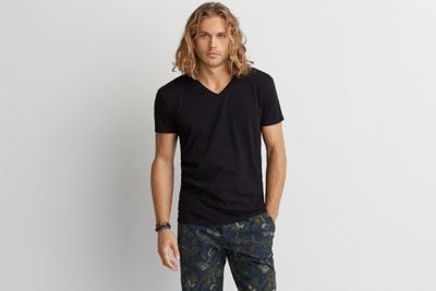 (SIZE L in Black) AEO Pima V-Neck T-Shirt by  American Eagle Outfitters | A whole new level of soft, for the perfect everyday T-shirt. Shop the AEO Pima V-Neck T-Shirt and check out more at AE.com.