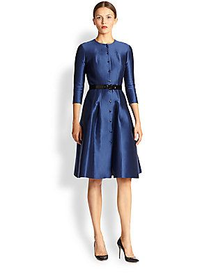 Carolina Herrera Belted Silk Mikado Dress Saks Price 2990