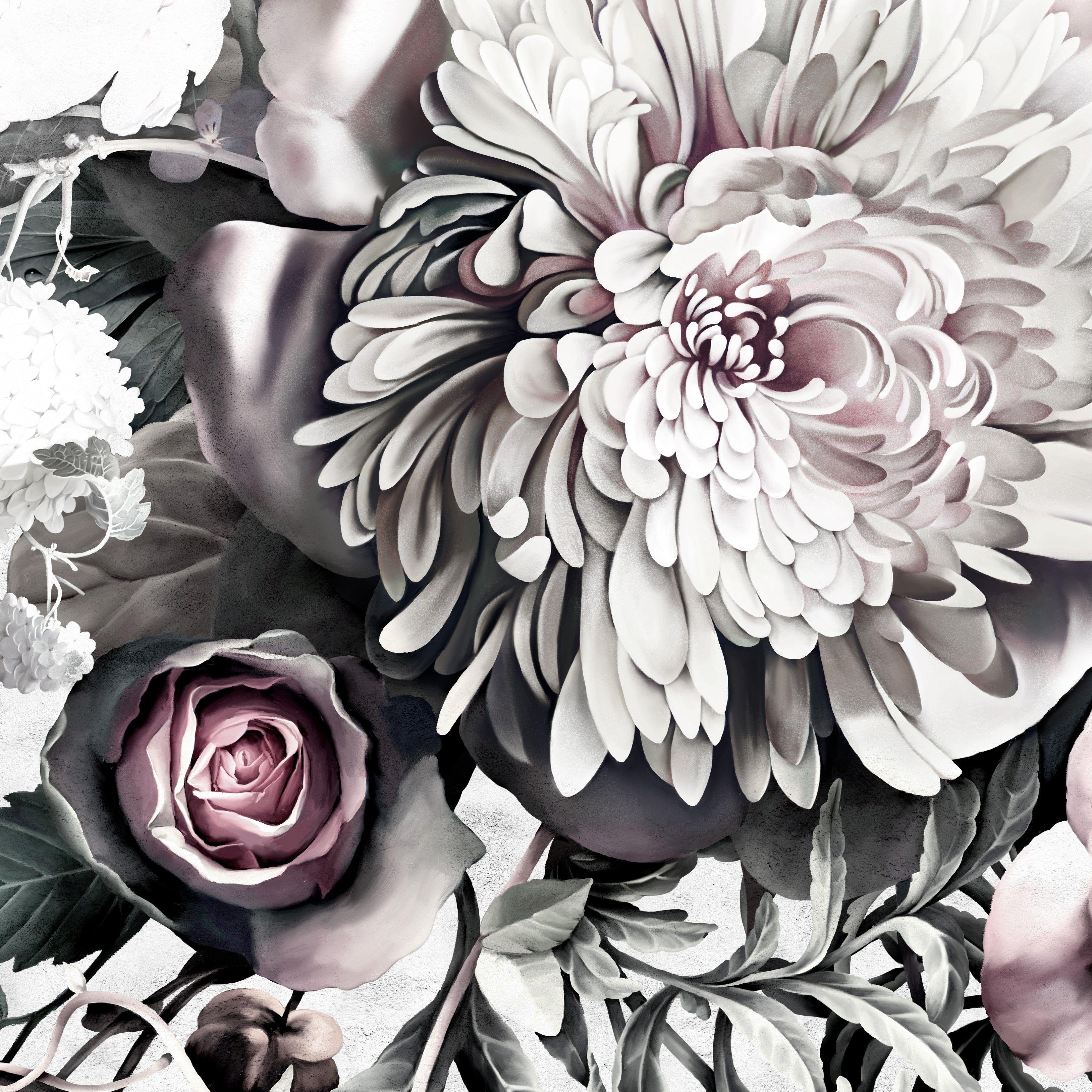 Black floral print wallpaper dark floral wallpaper by ellie cashman - Dark Floral Ii Light Fresco Floral Wallpaper By Ellie Cashman Design