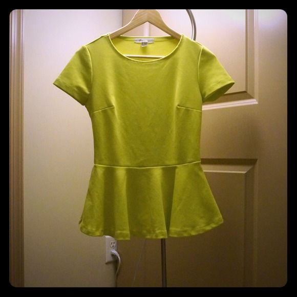 Peplum top & Beaded racer back tank Bright yellow peplum top. Super flattering. Looks great with a tube skirt. Worn once. Forever 21 Tops