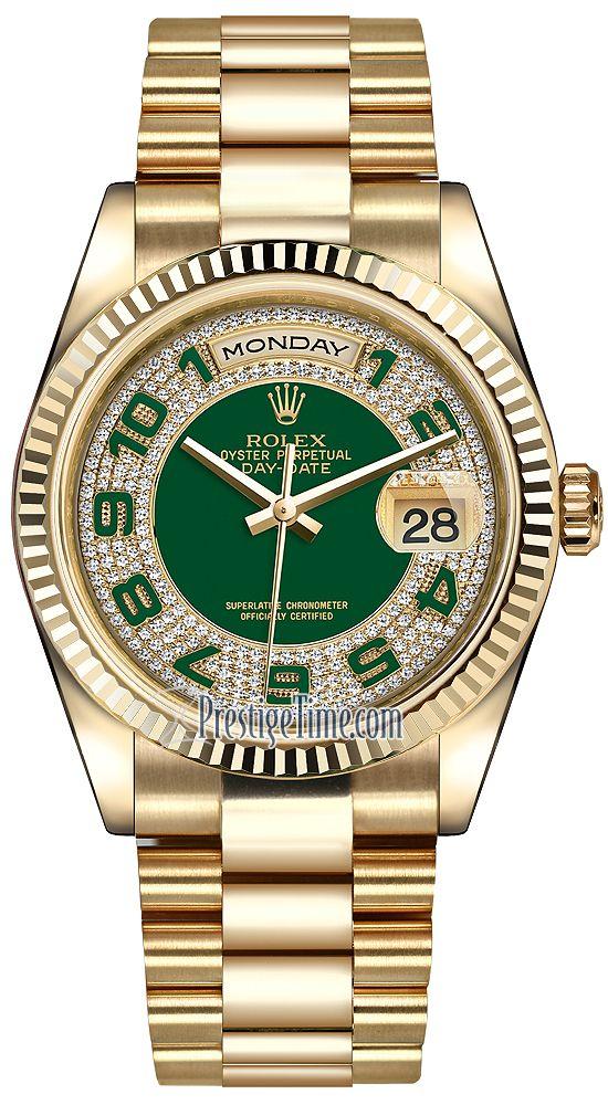 807874e8d35 Rolex Day-Date 36mm Yellow Gold Fluted Bezel 118238 Green Pave Diamond  Arabic President