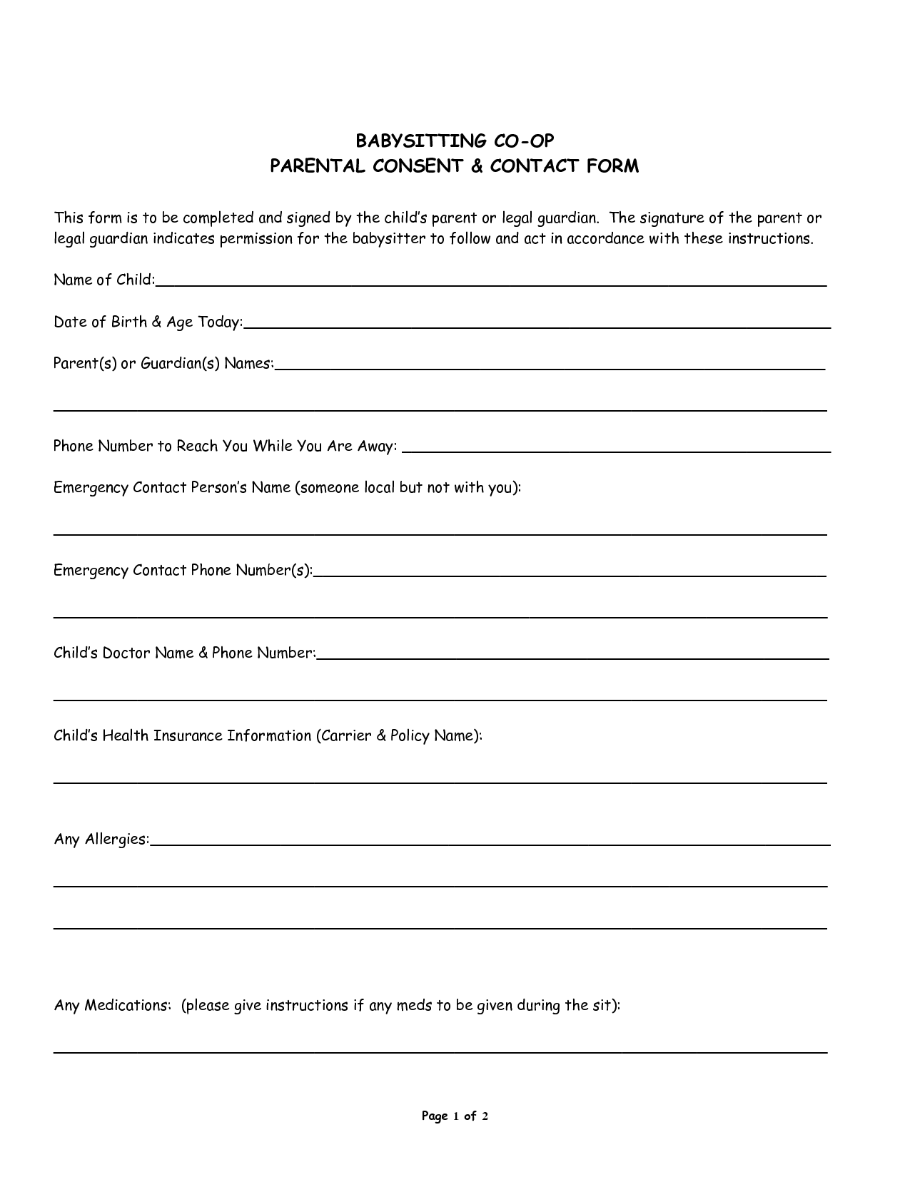 Babysitter Medical Consent Form Template
