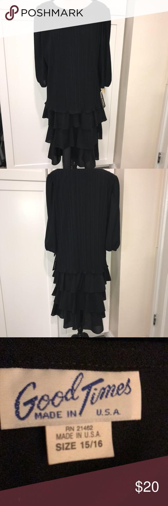 3 4 Sleeve Black Dress Ruffled At Bottom Black Dress With Sleeves Black Dress Layering Ruffle Dress [ 1740 x 580 Pixel ]