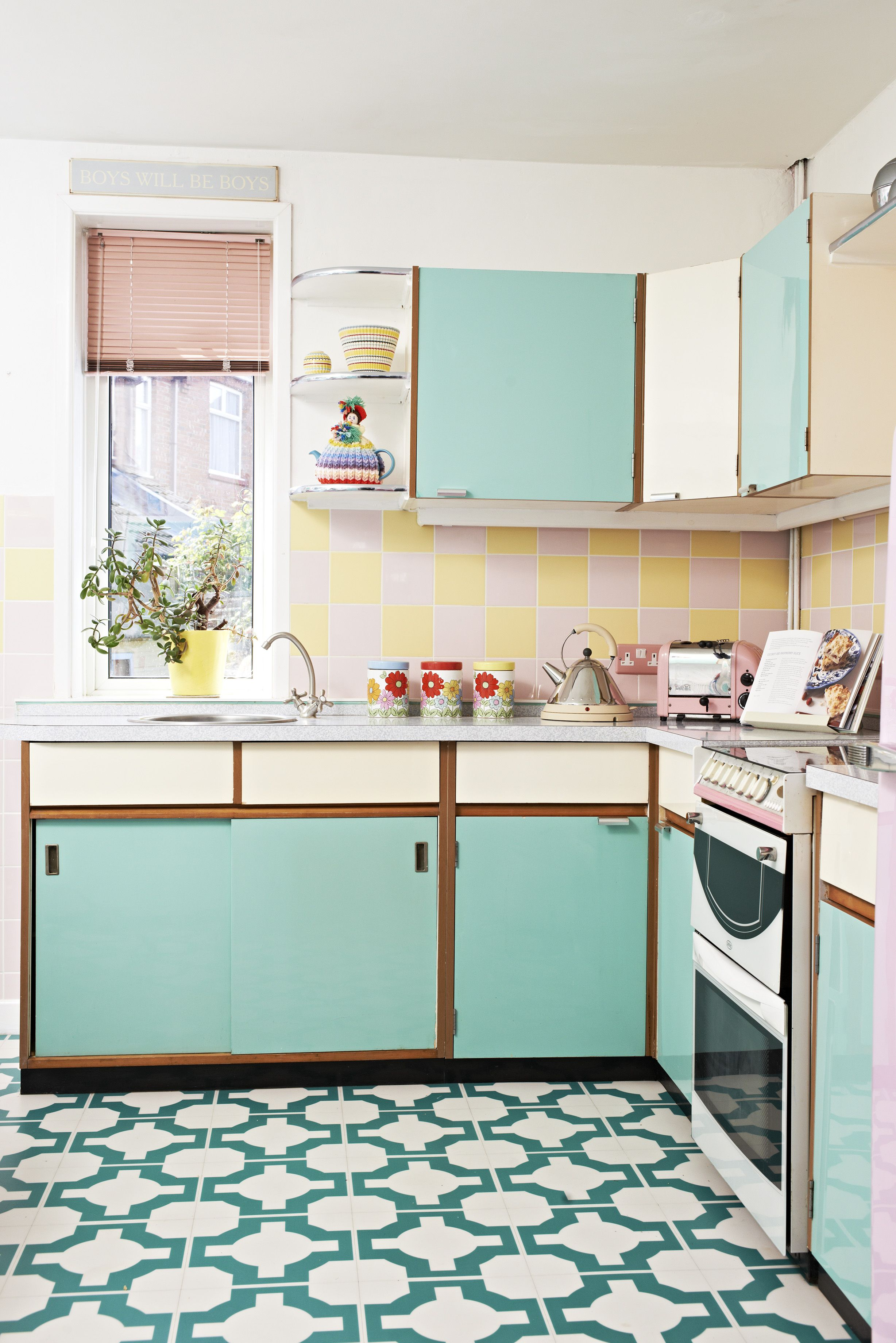 Retro Kitchen Look With A Pastel Palette As Seen In Style At Home