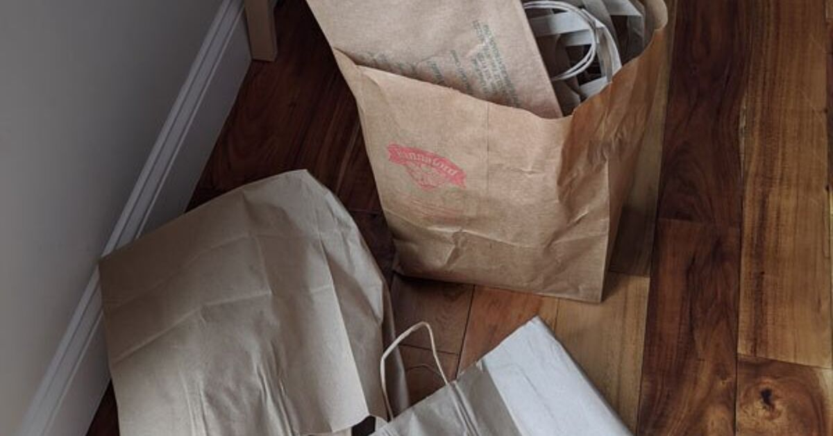 How To Decoupage Laminate Furniture With Brown Paper Bags In 2020 Laminate Furniture Brown Paper Bag Paint Storage