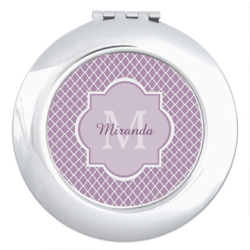 Add a sophisticated modern vibe to your personal style with this trendy light purple and white quatrefoil pattern compact mirror with an elegant framed monogram. Personalize this stylish design by adding your name and monogrammed initial.