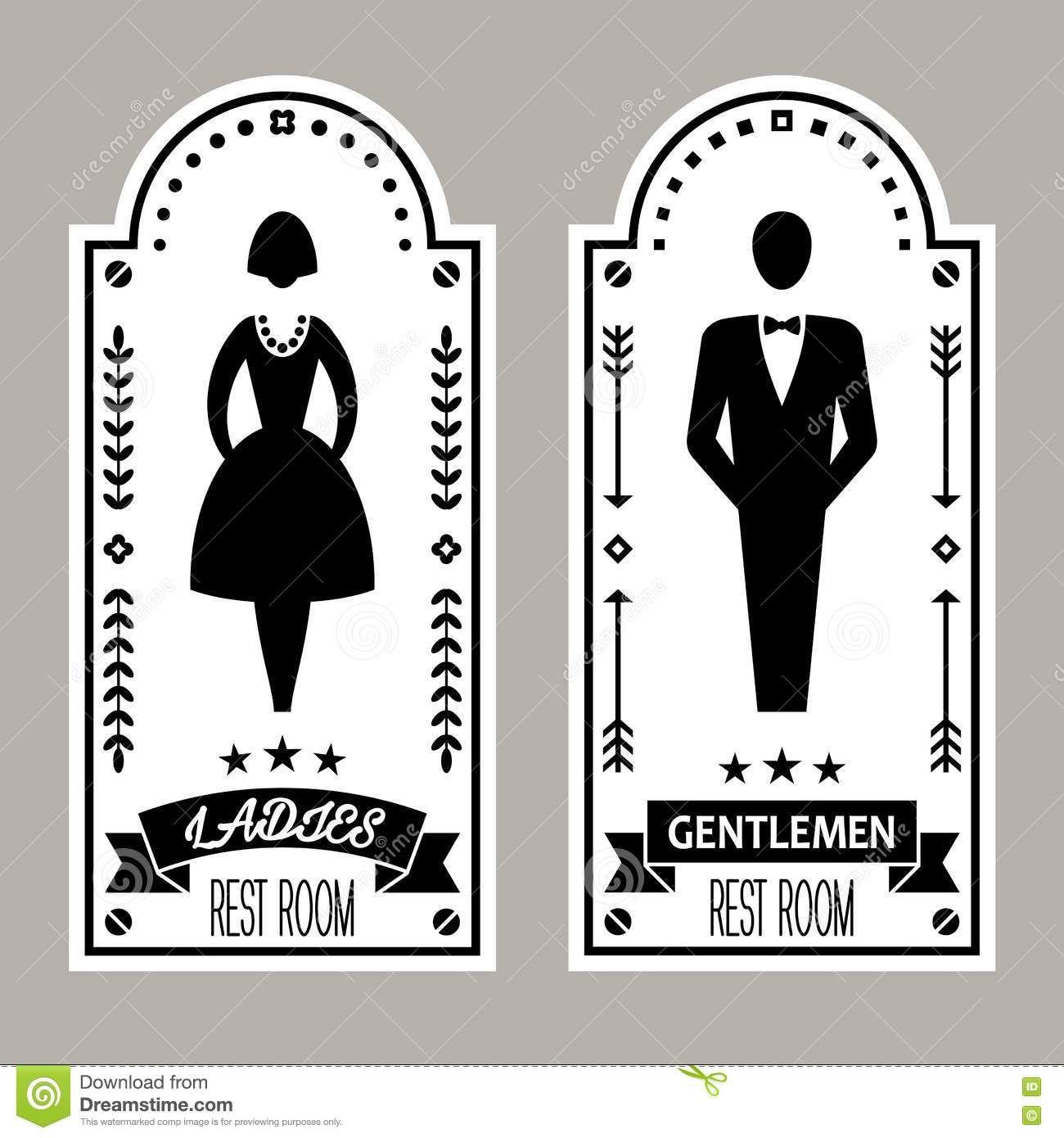 . Photo about Restroom Premium Retro Signs Vector Lady   Gentleman