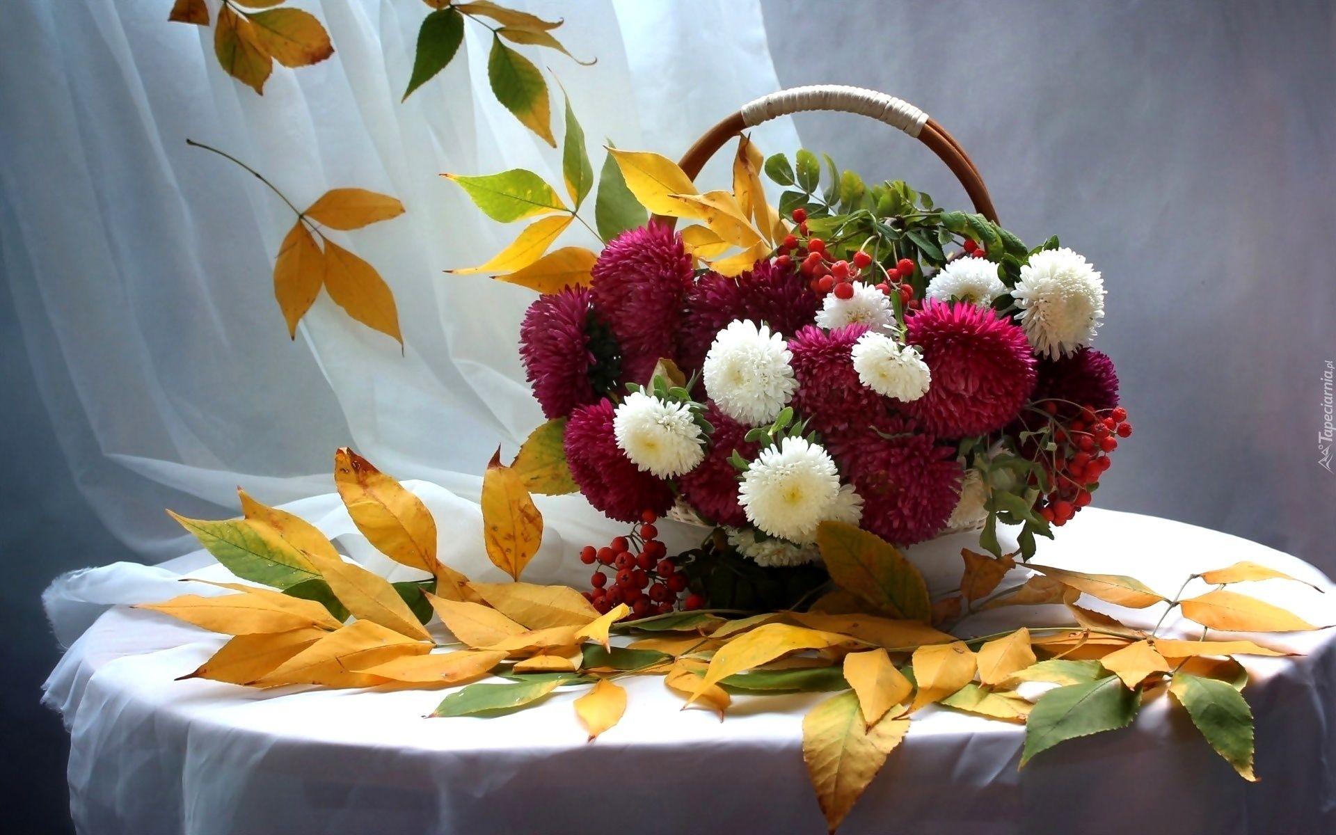 Stol Kosz Kwiaty Astry Jesienne Liscie Fall Bouquets Flowers Floral Arrangements