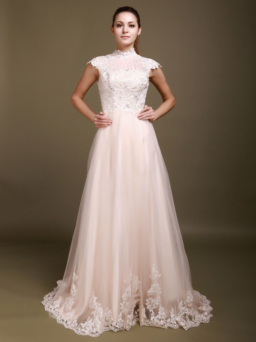 Cap sleeve a line wedding gown with decorative buttons sizes