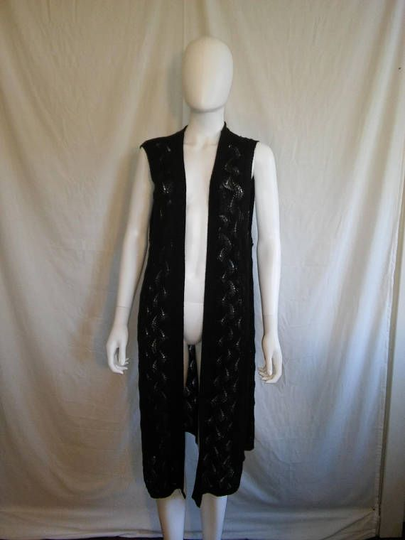 90s  knit black long cover up