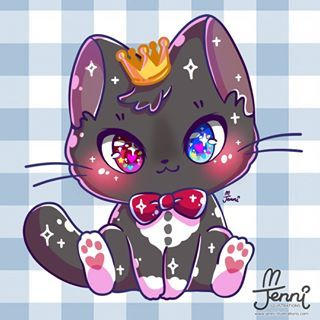 Prince Kitty He Naturally Has A Tux As His Fur Print Haha Blackcat Tuxedocat Tux Cute Animal Drawings Kawaii Cute Kawaii Animals Cute Animal Drawings