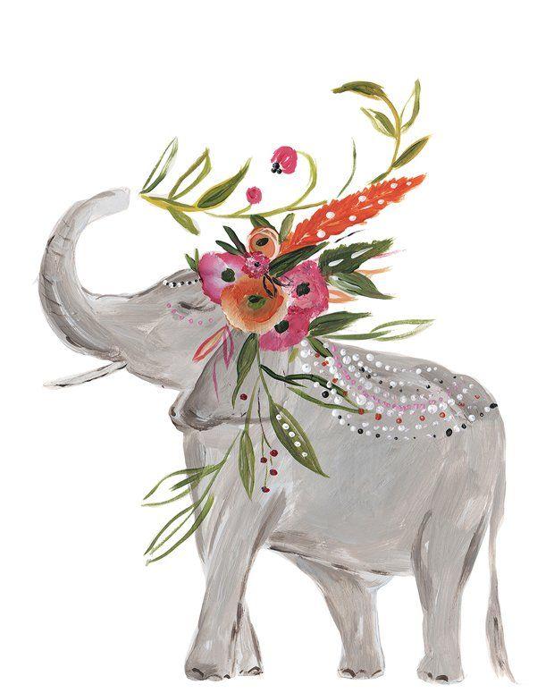 'Boho Elephant Standing' Acrylic Painting Print