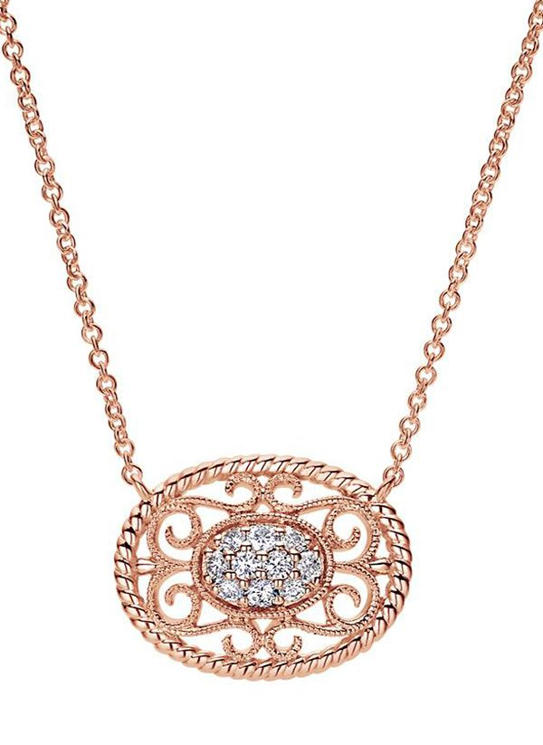 492d4c8f09aa6 Say I do in this beautiful 14k Rose Gold Hampton Diamond Necklace ...