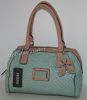 New Guess Logo Girl Satchel Handbag Shoulder Bag Purse Mint Flower