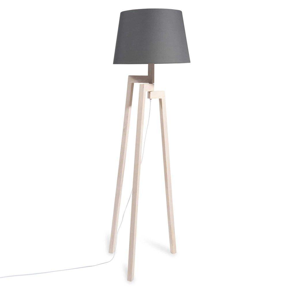 lampadaire tr pied en h v a abat jour bleu marine. Black Bedroom Furniture Sets. Home Design Ideas