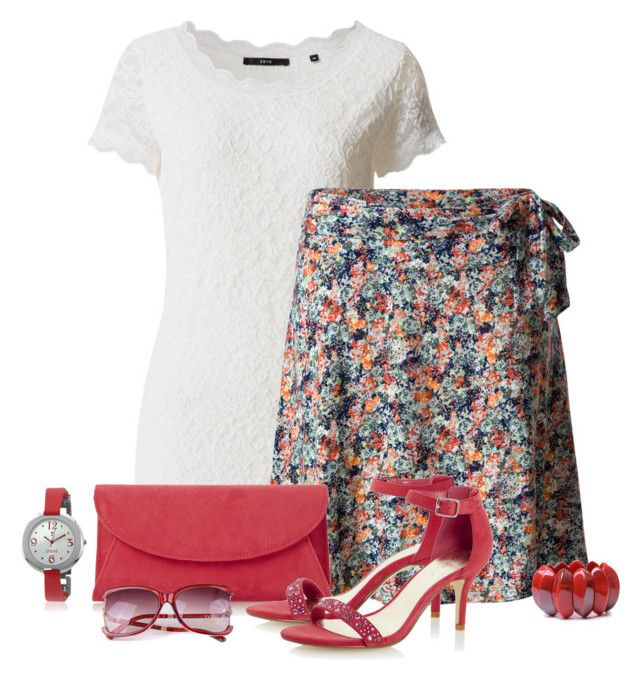 Casual outfit: Raspberry - White - Floral by downtownblues on Polyvore