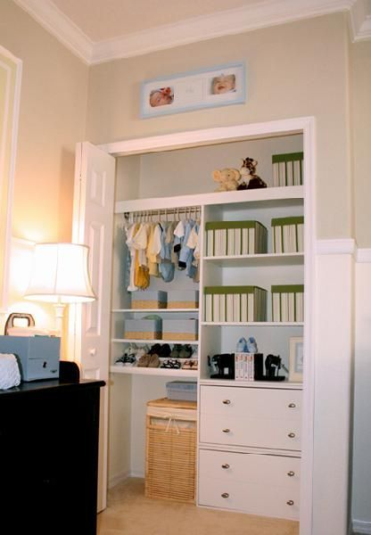 Nursery Closet Organization - Small closet with drawers, shelves and baskets.