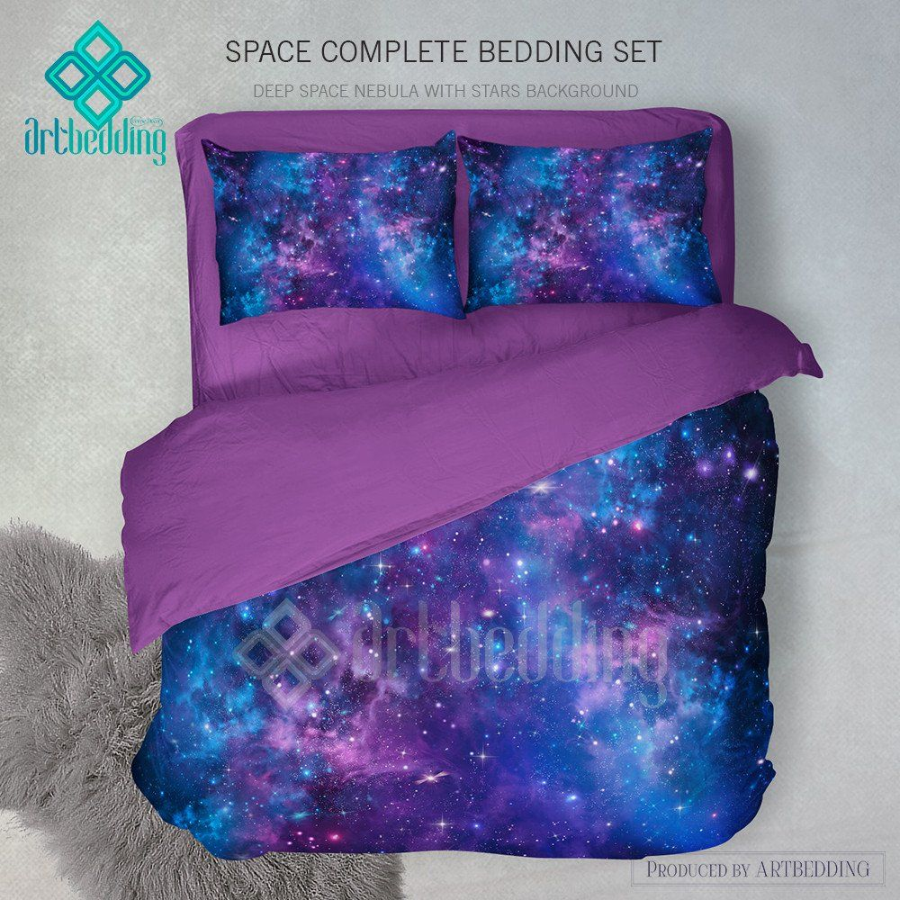 Deep space bedding set blue and purple nebula with stars for Blue purple bedroom ideas