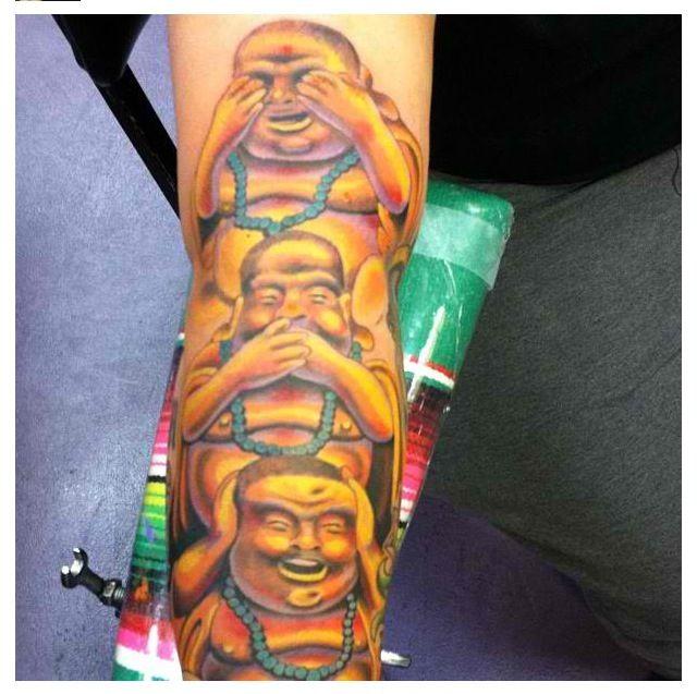 Buddha Tattoo see no evil, speak no evil, hear no evil