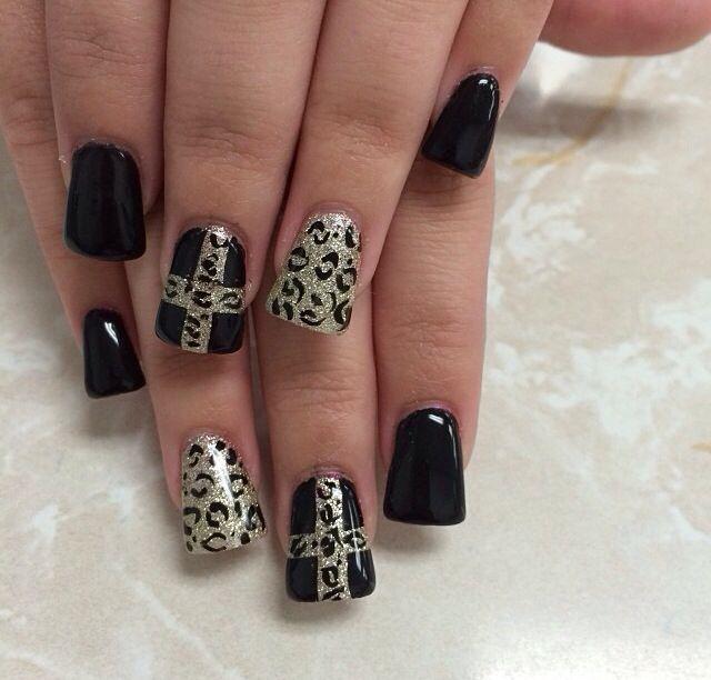 Black cheetah with cheetah cross nail design | Nail Designs ...