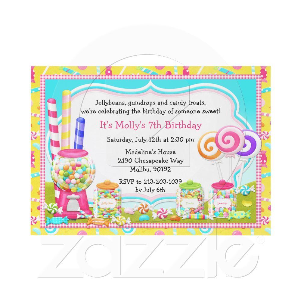 Candy Birthday Party Invitation from Zazzle.com | Birthdays To Do ...