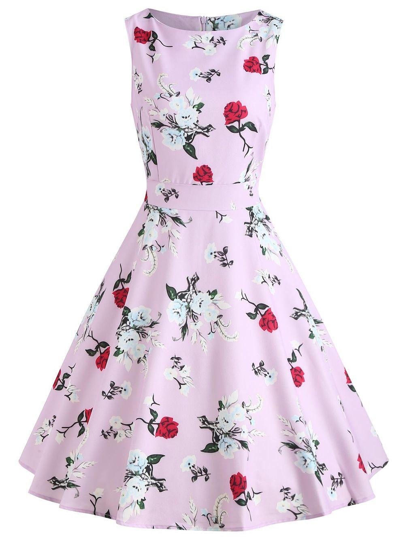30eac67e247 Retro Flower Swing Dress - BLOSSOM PINK M