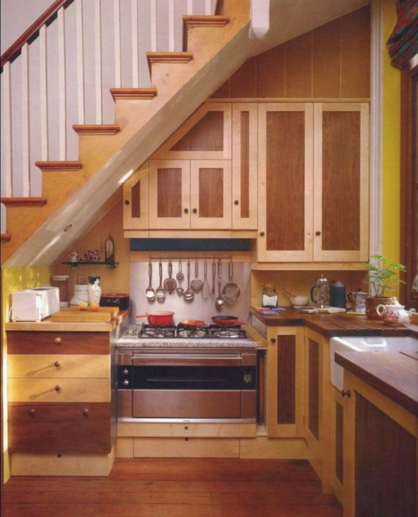 design small kitchen under stairs decorating