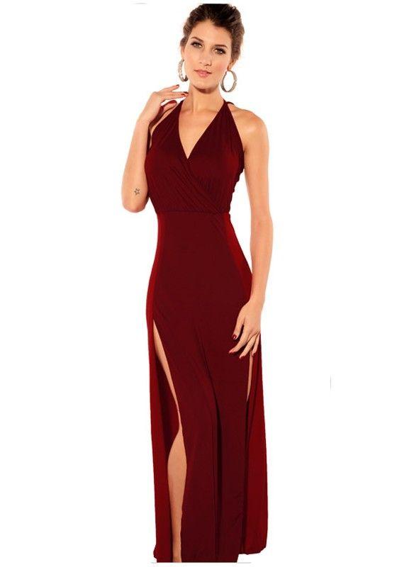 5f525e2edb9 Wine Red Plain Sleeveless Wrap Dacron Maxi Dress