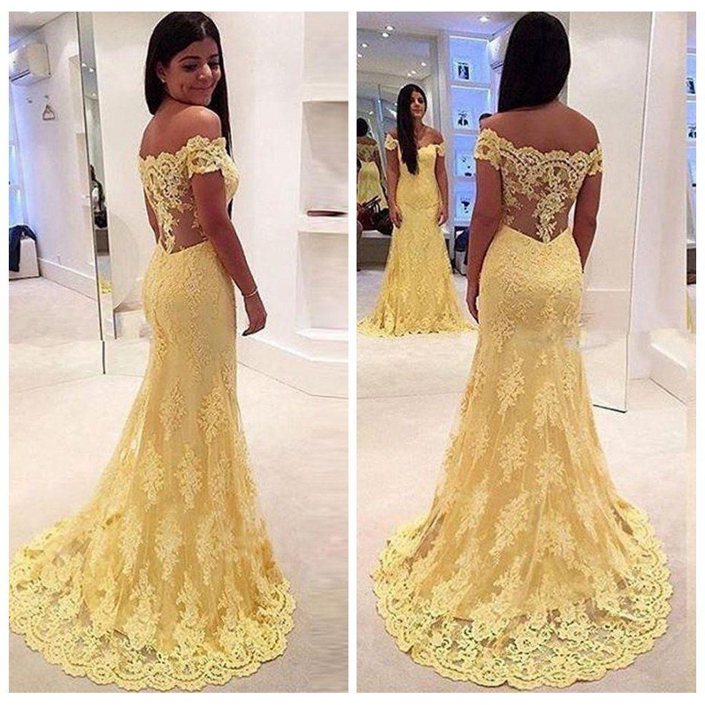 Elegant yellow off shoulder mermaid lace prom dresses long evening