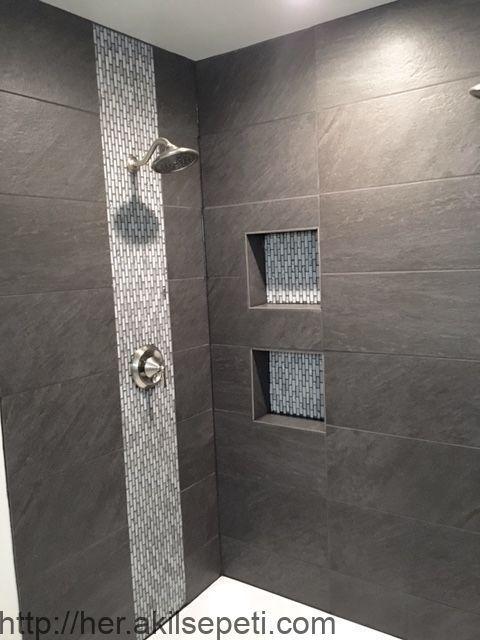 """Dusche mit großer Feldfliese. Mosaikfliese für """"Wasserfall"""