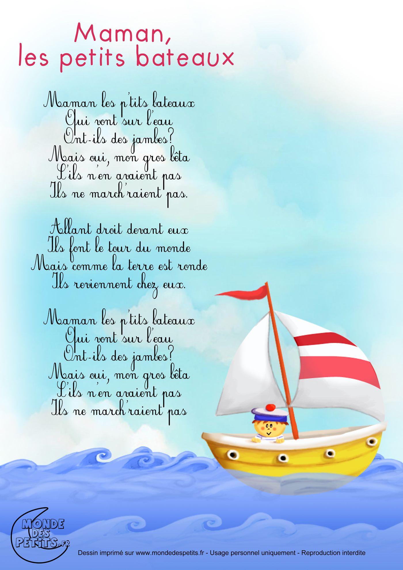 Parolesmaman Les Petits Bateaux Comptines Chansons